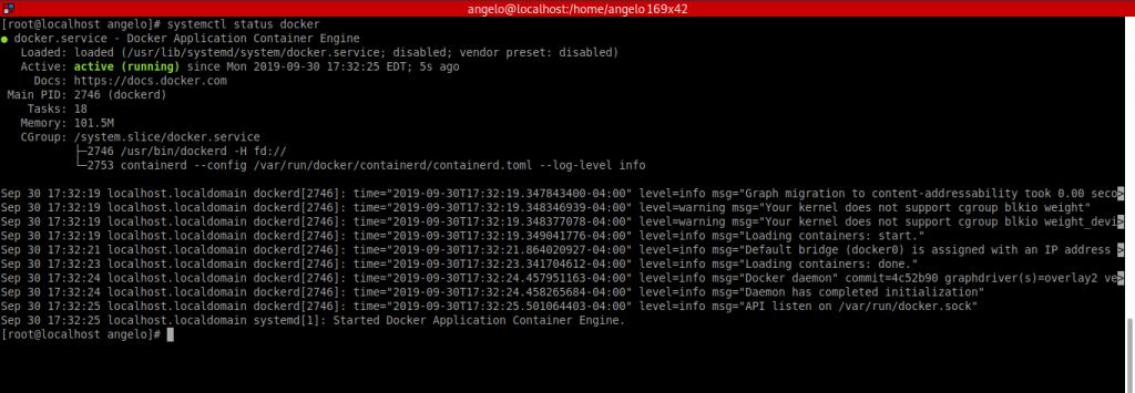 3.- Docker is running on CentOS 8