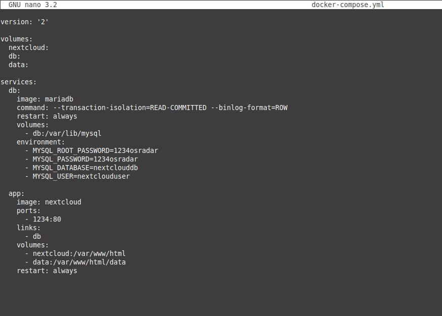 1.- Docke compose file