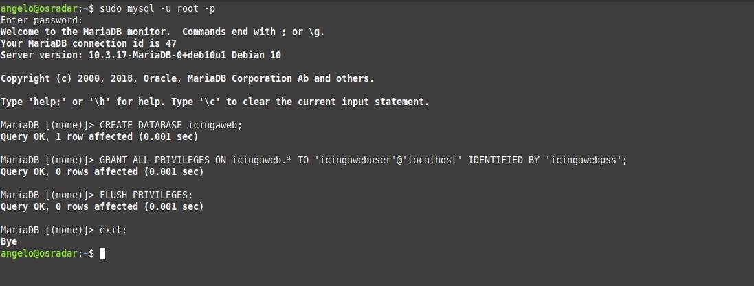 1.- Creating a new database for Icinga