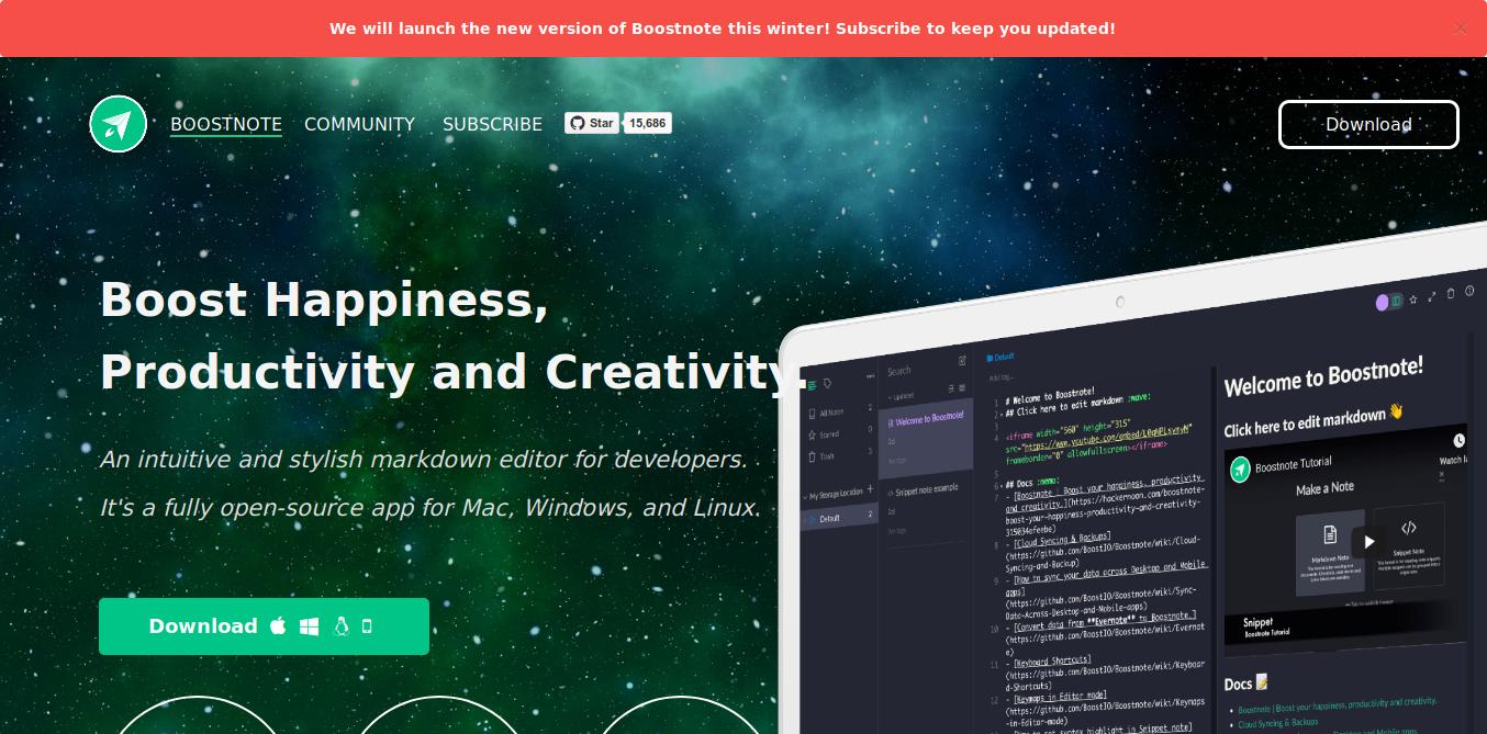 1.- Boostnote web site