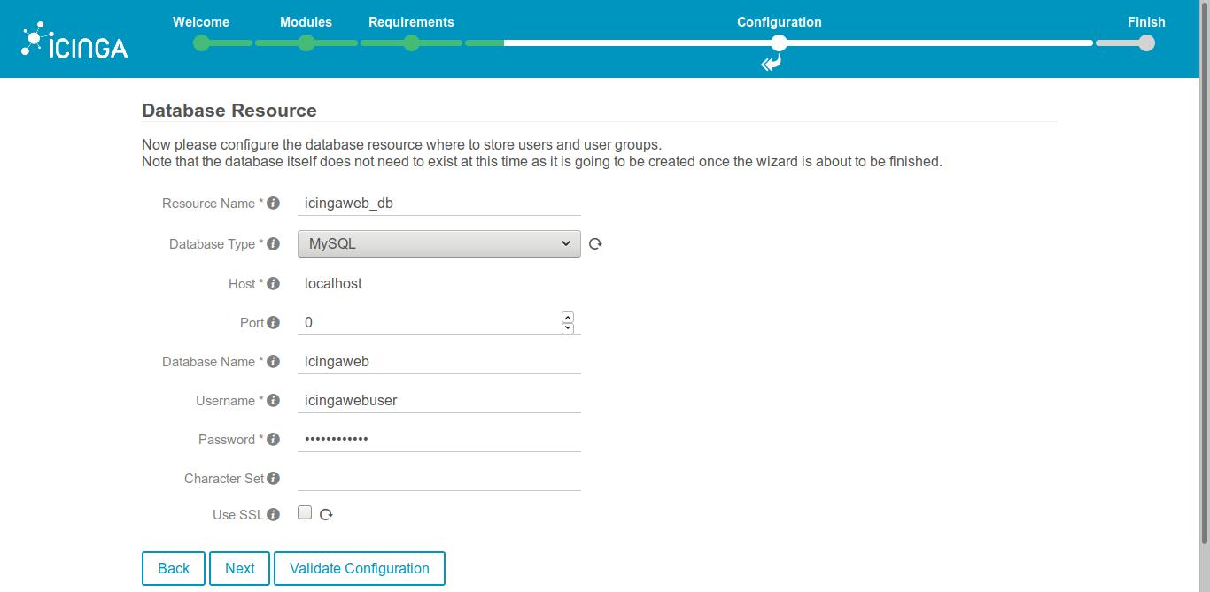 12.- Database credentials