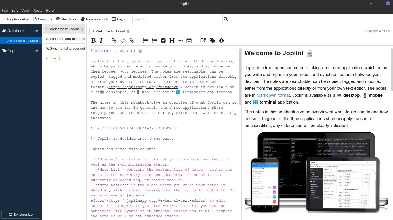 2.- Joplin a note-taking application