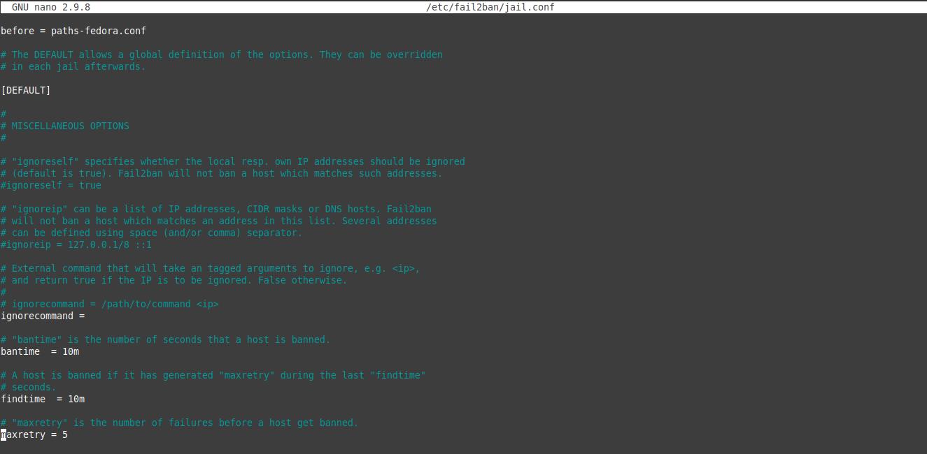 2.- Fail2Ban default configuration