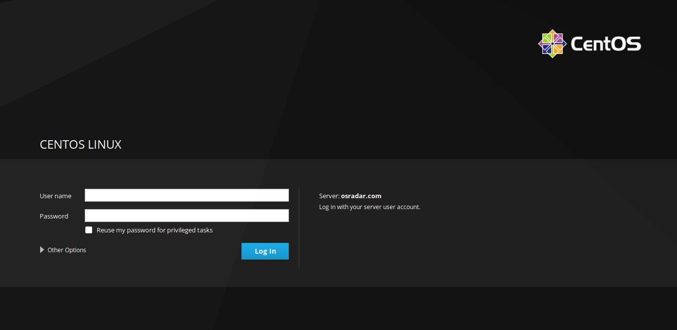 3.- Cockpit login page on CentOS 8