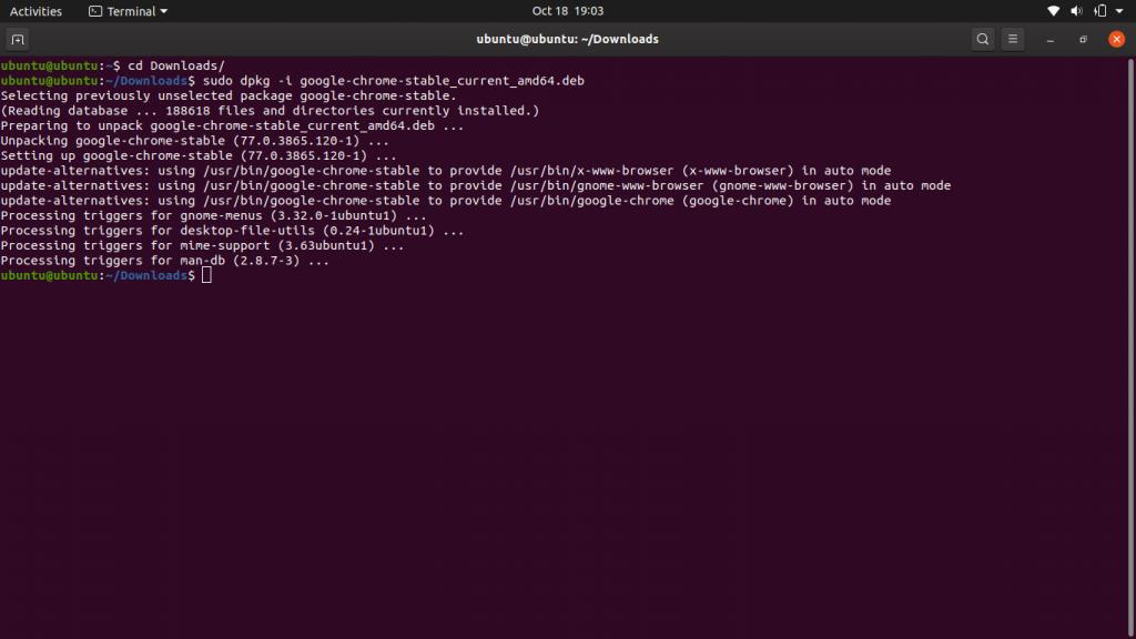 3.- Install Google Chrome on Ubuntu 19.10