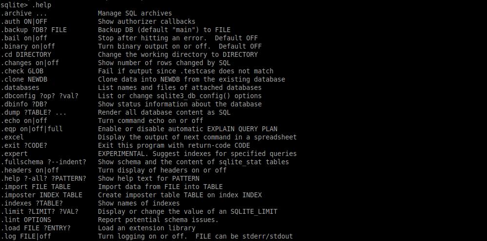 3.- Help screen of SQLite