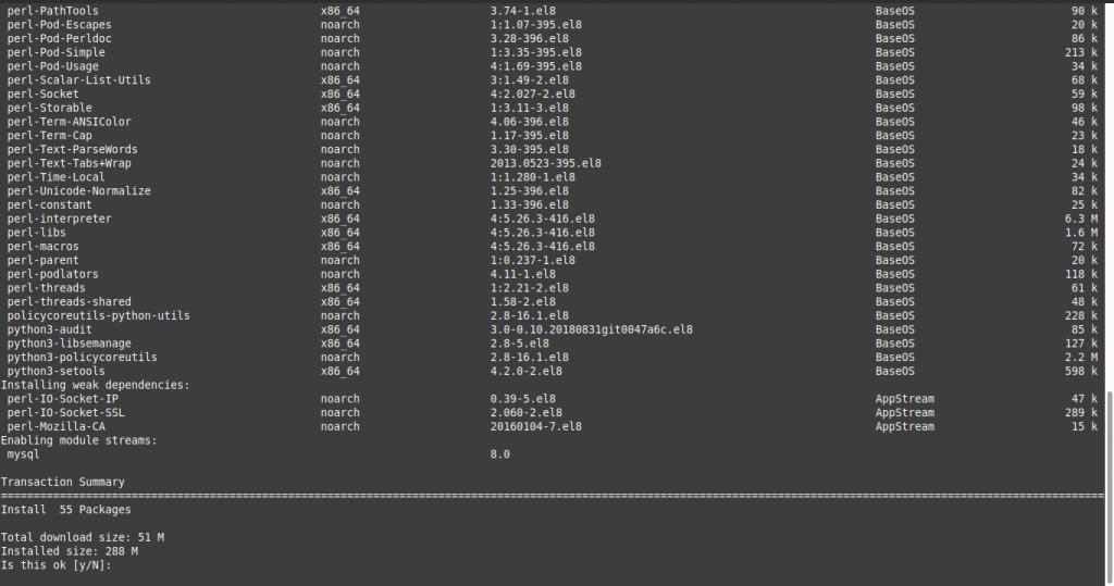 3.- Install MySQL 8 on CentOS 8