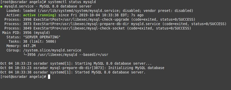 4.- The MySQL 8 service