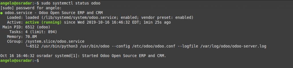 5.- Odoo status on Debian 10