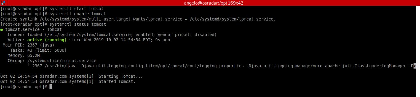 6.- Starting Apache Tomcat on CentOS 8
