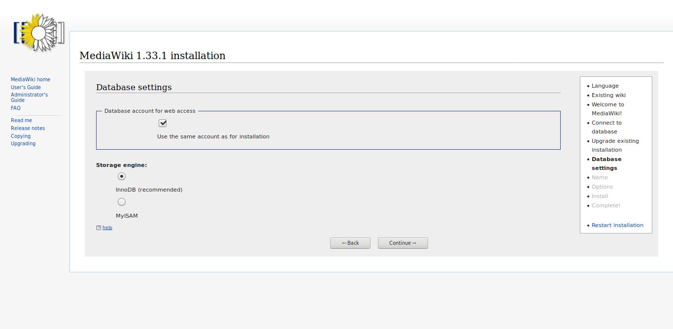 7.- Database settings