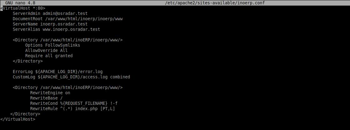 3.- Creating a new virtual host for inoERP on Ubuntu 20.04 / Debian 10