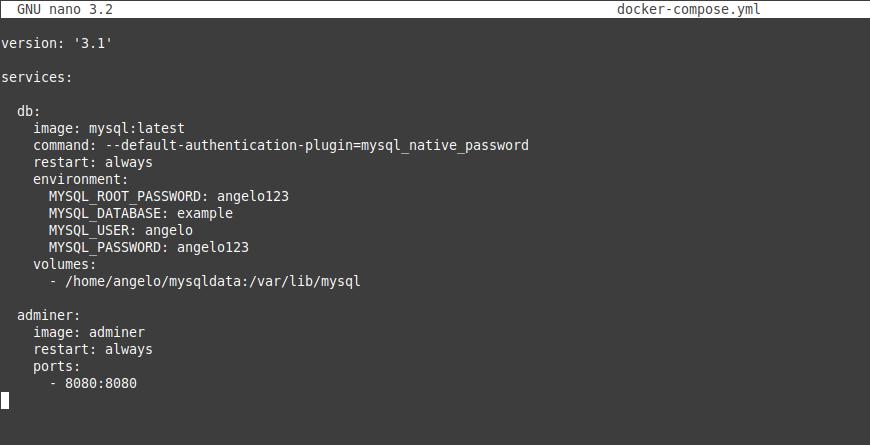 1.- Docker compose file to deploy MySQL
