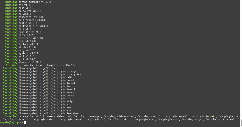 1.- Installing Nu Shell on Ubuntu 20.04