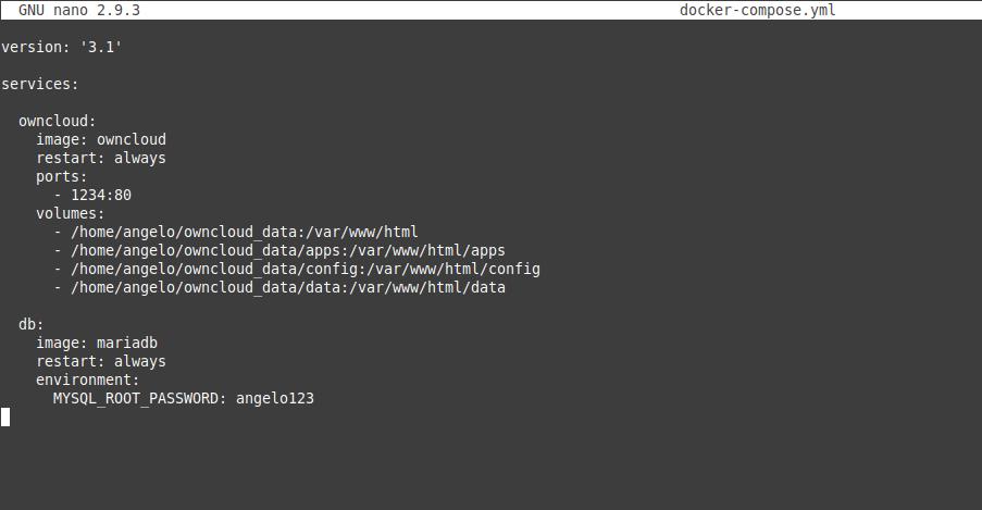 1.- Deploy Owncloud using Docker compose