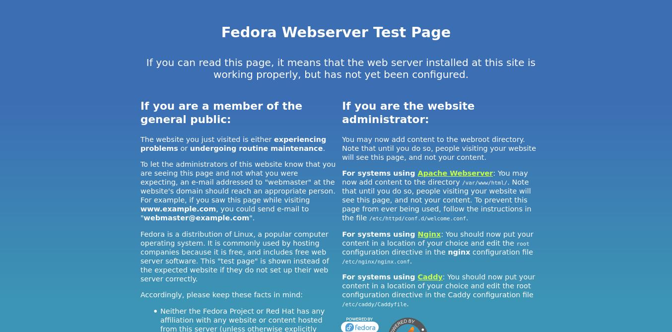 1.- Httpd running on Fedora 34