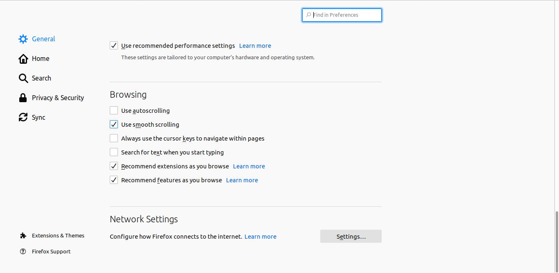 2.- Firefox Network settings