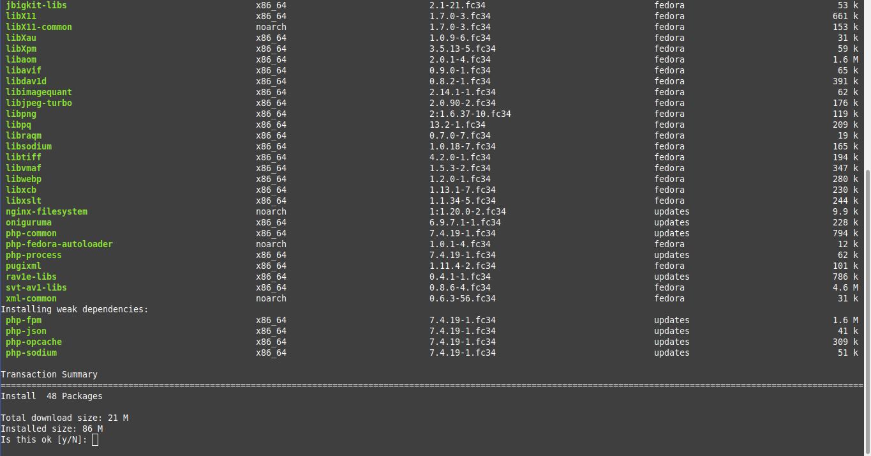 2.- Installing PHP on Fedora 34
