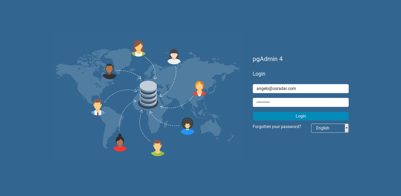 2.- PgAdmin log in screen