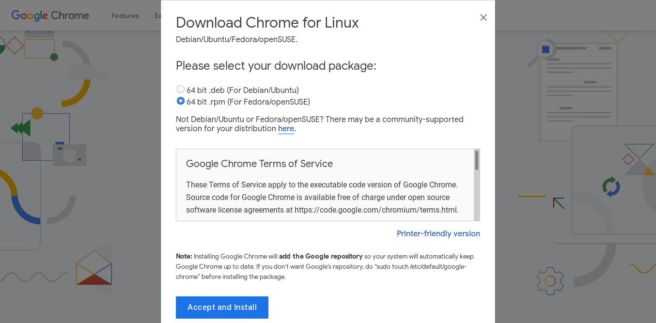 2.- Download google chrome for Fedora