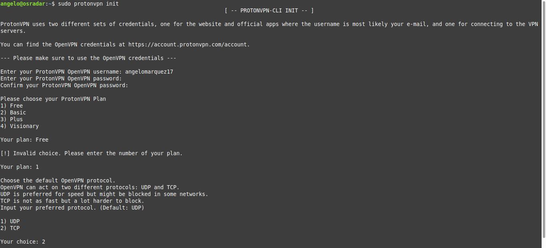 3.- Initializing ProtonVPN on Debian 10