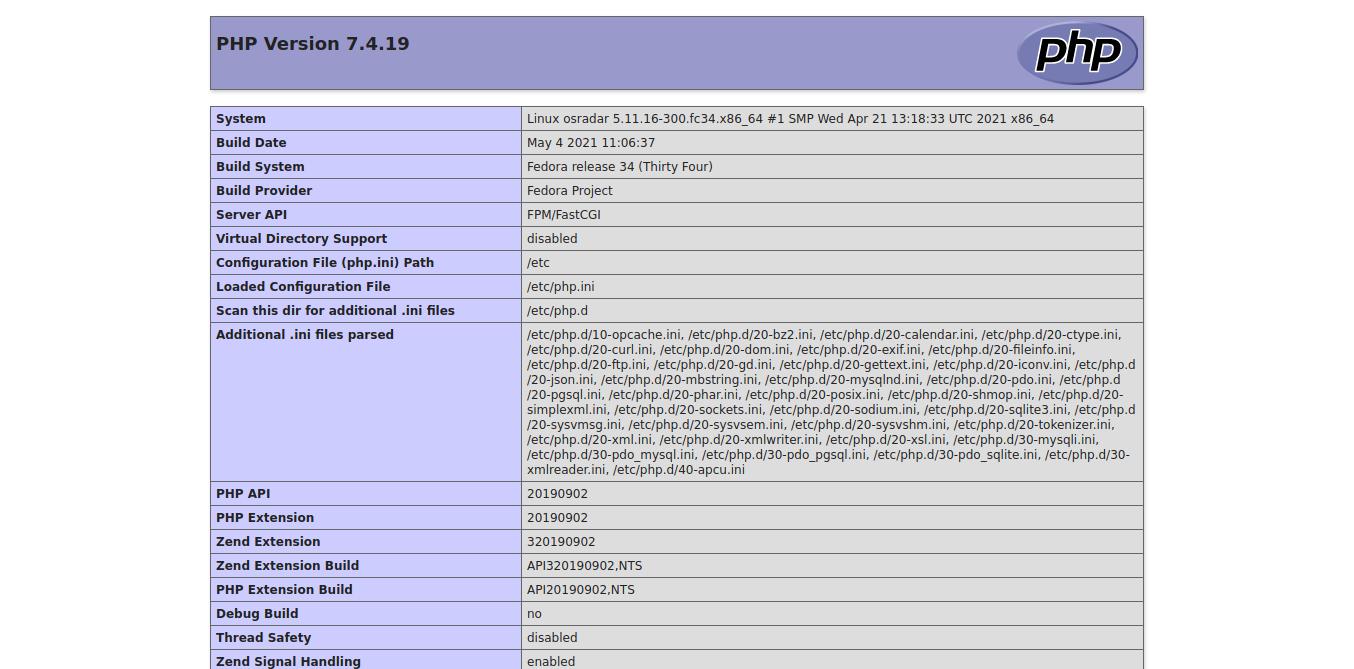 3.- Installing LAMP stack on Fedora 34