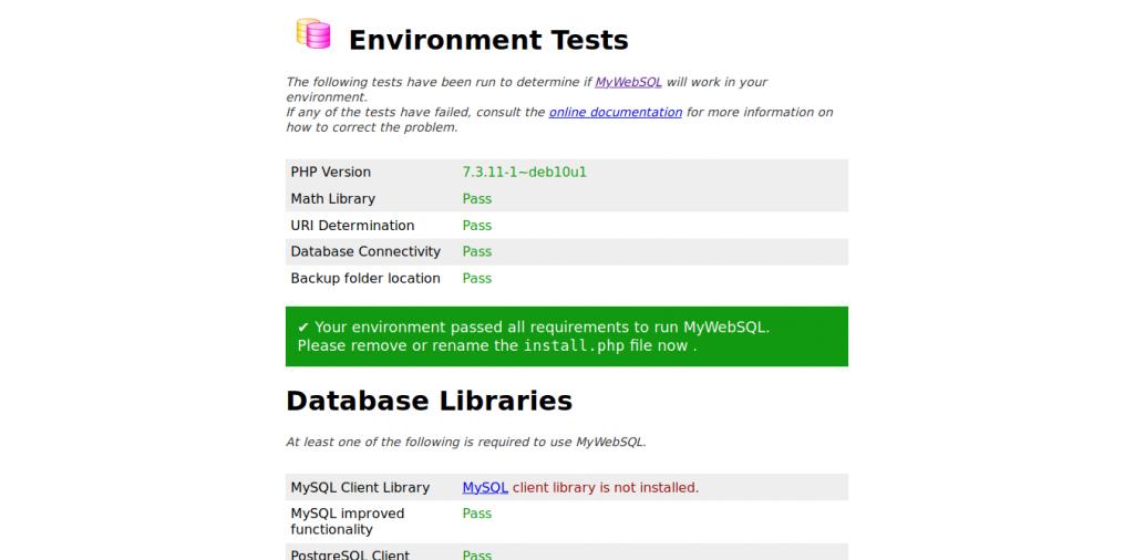 3.- Installing MyWebSQL
