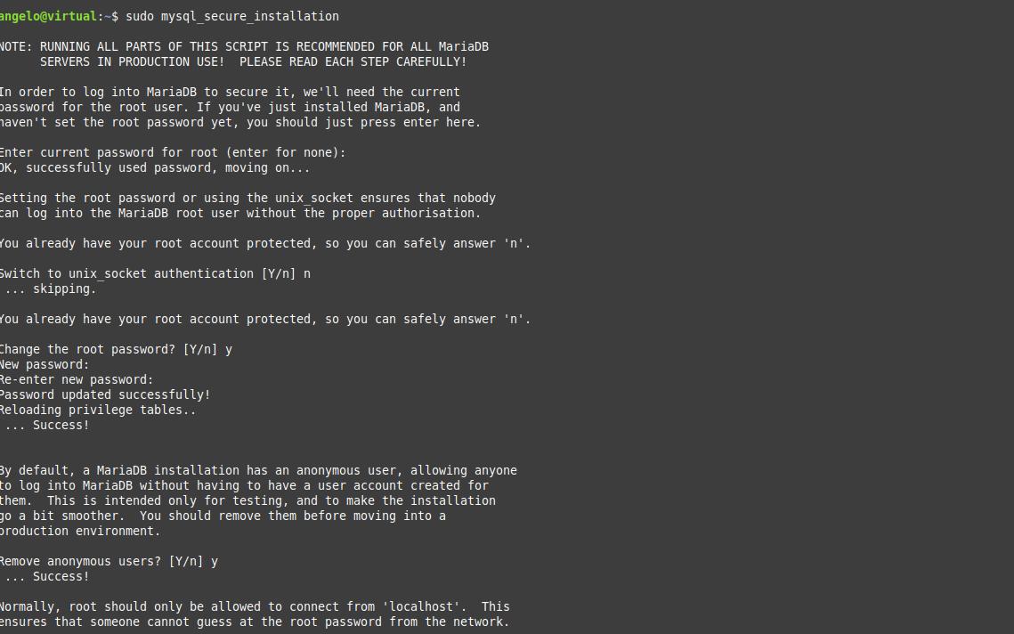 3.- Securing the MariaDB installation
