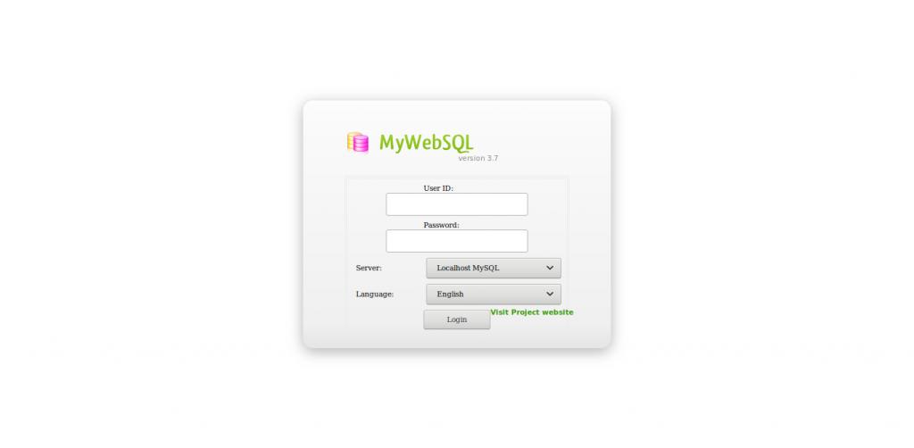 4.- MyWebSQL login screen