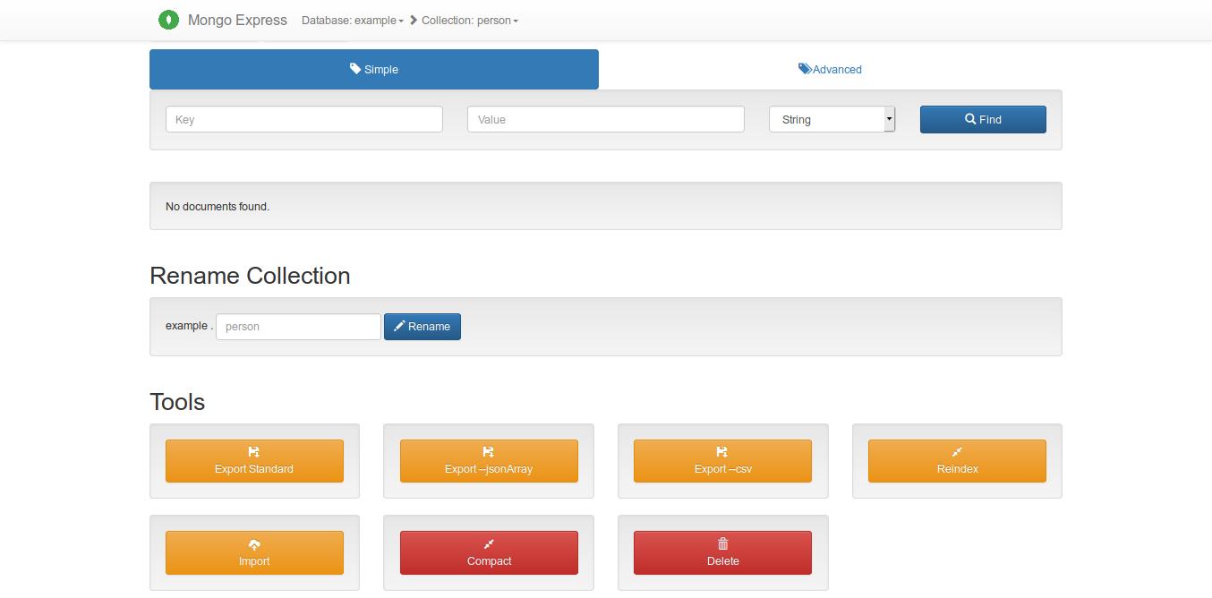 5.- MongoDB running using Docker compose