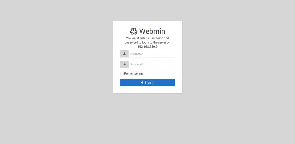 5.- Webmin login page