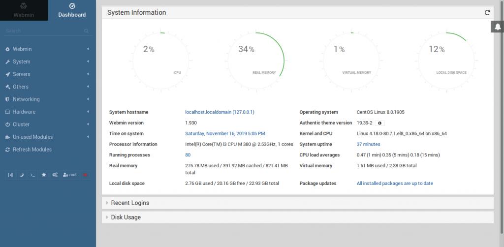6.- Webmin dashboard on CentOS 8 / RHEL 8 / Oracle Linux 8
