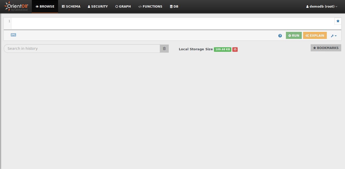 7.- OrientDB web interface running on Debian 10