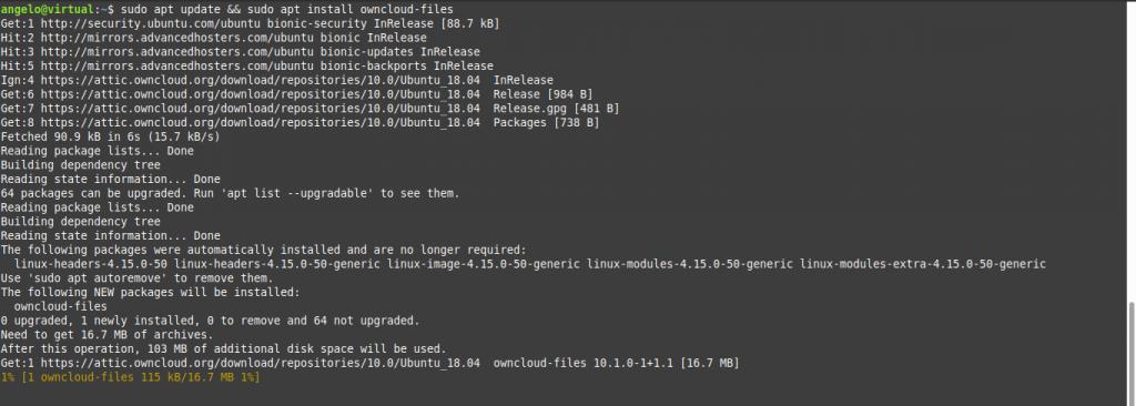 2.- Install Owncloud on Ubuntu 18.04