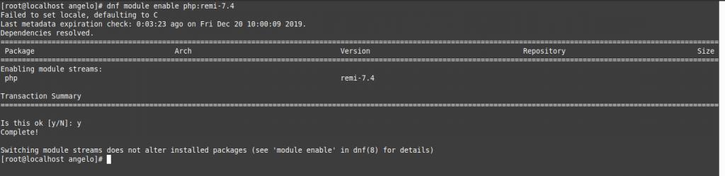 3.- Enabling the PHP 7.4 series