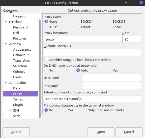 7.- Proxy settings on PuTTY