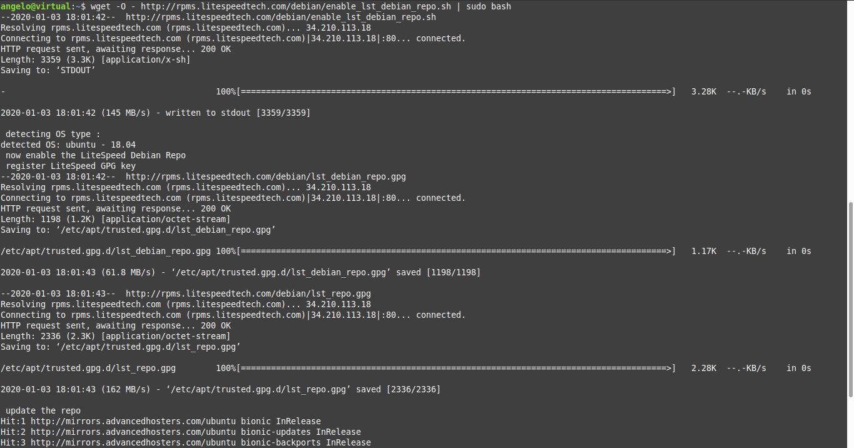 1.- Add the repository of OpenLiteSpeed on Ubuntu 18.04