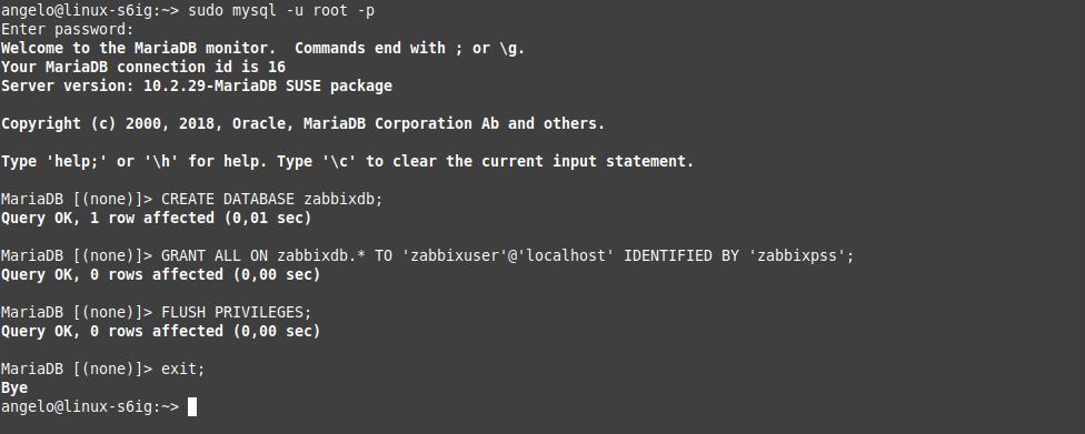 1.- Creating the new database for Zabbix
