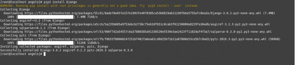 2.- Install Django on CentOS 8