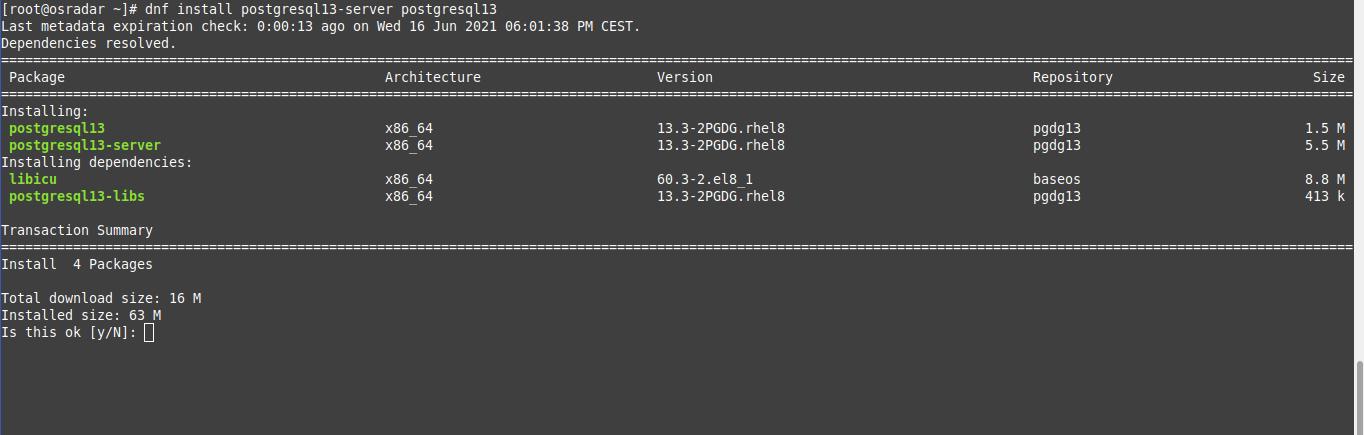 2.- Install PostgreSQL 13 8 on AlmaLinux OS 8 / CentOS 8