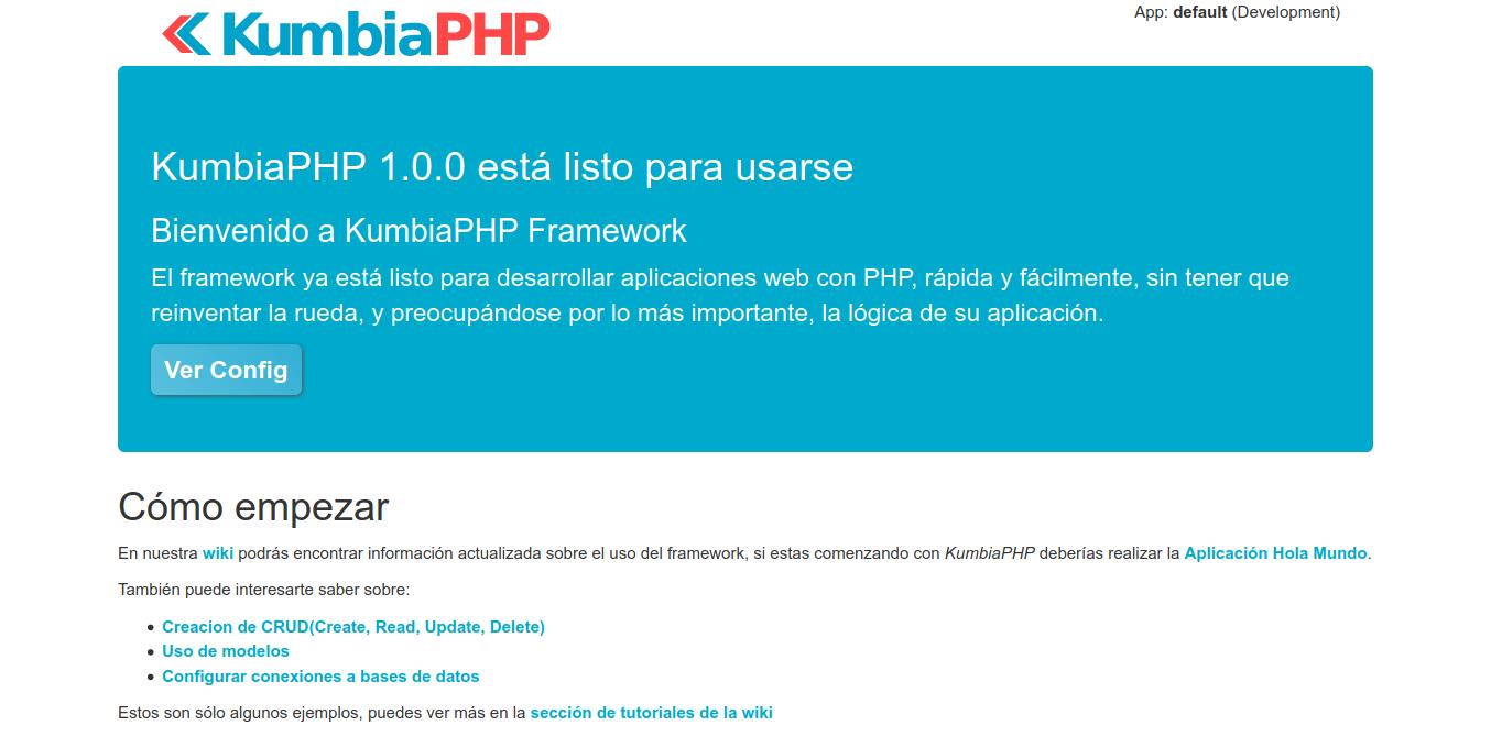 3.- KumbiaPHP ready on Debian 10