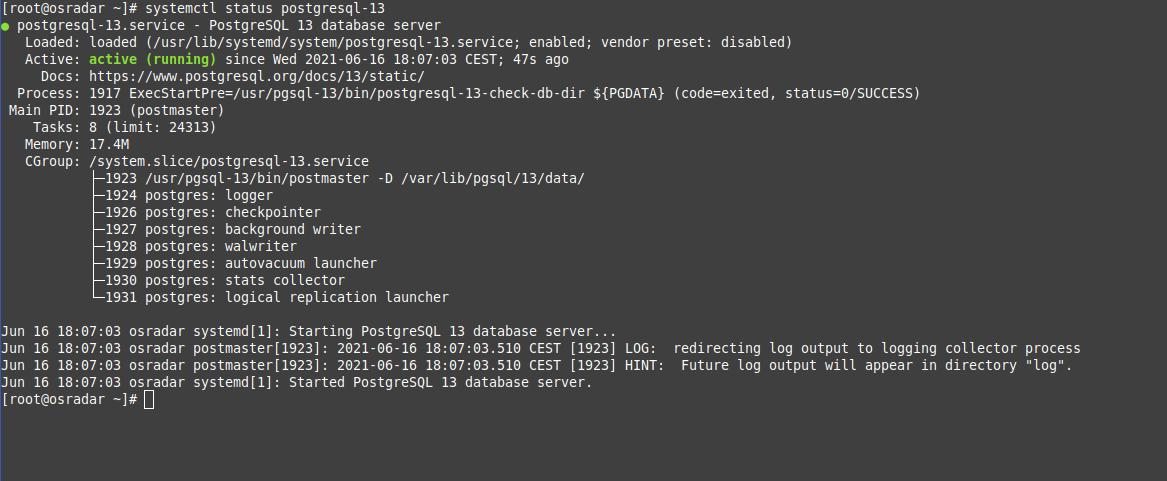 3.- PostgreSQL status