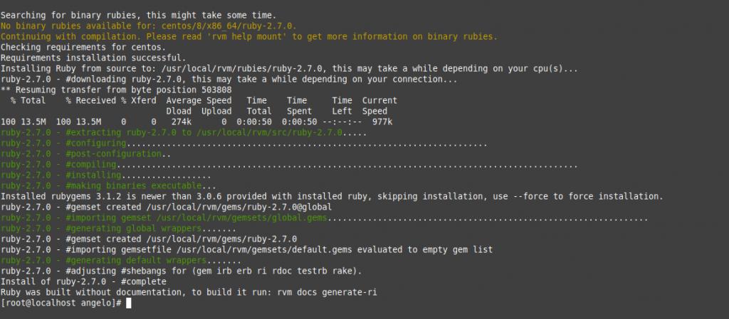 4.- Install Ruby on CentOS 8