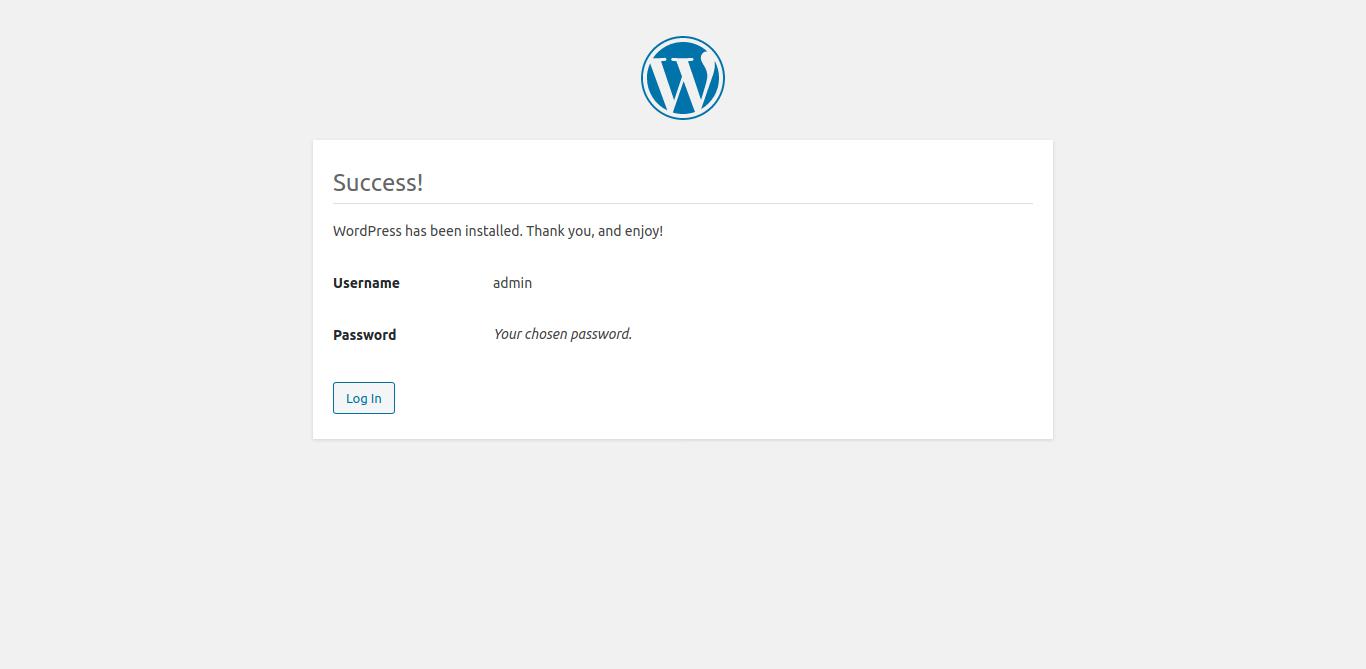 7.- WordPress successfully installed