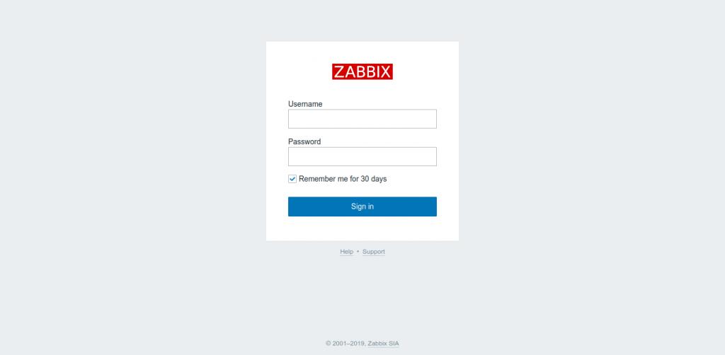 8.- Zabbix log in page