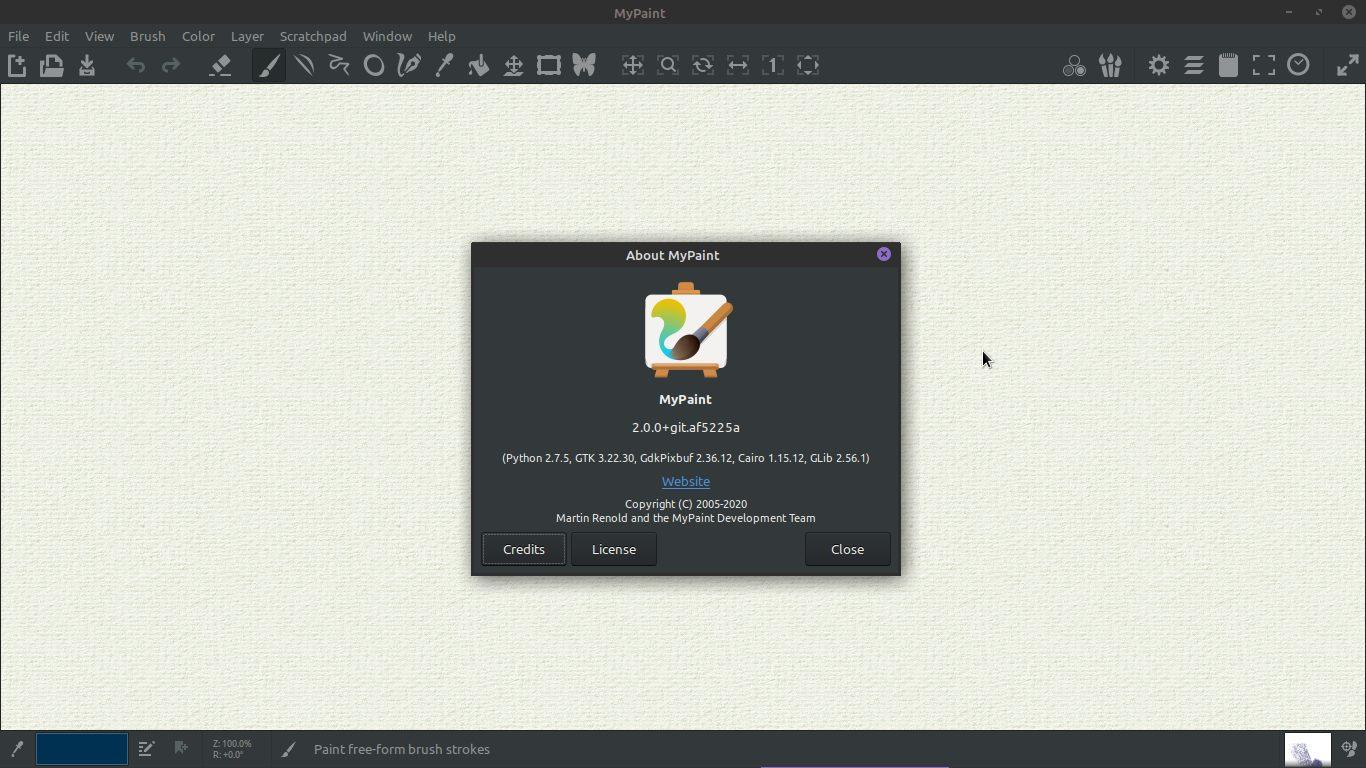 1.- MyPaint 2.0 running on Ubuntu 18.04 / Linux Mint 19.3