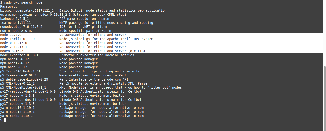 1.- Search for nodejs on the FreeBSD repositories