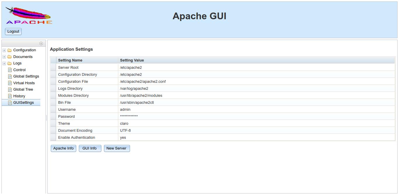 11.- Apache GUI running