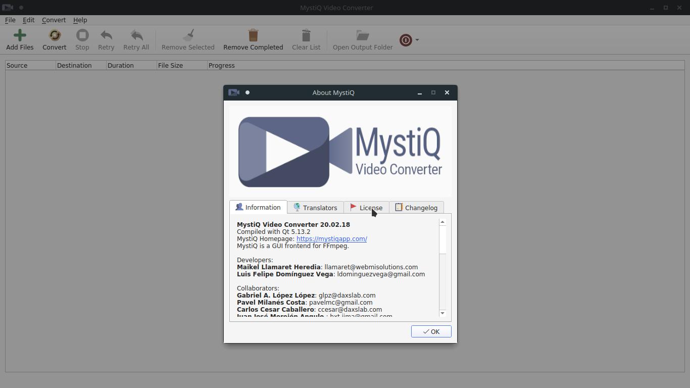 1.- MystiQ video converter on Linux