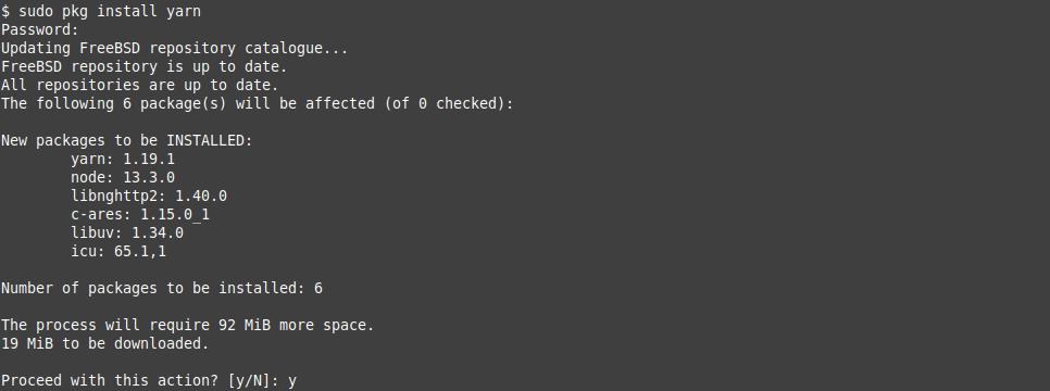 2.- Install Yarn on FreeBSD 12